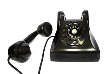 Old-fashioned Black Telephone Receiver With Cord O Stock Images