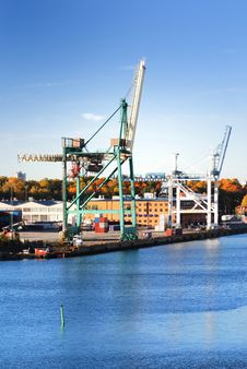 Cargo Cranes At The Port Stock Image
