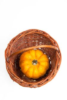 Free Pumpkin On The Basket Royalty Free Stock Photography - 16515197