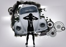 Woman Front Of Car Royalty Free Stock Photography