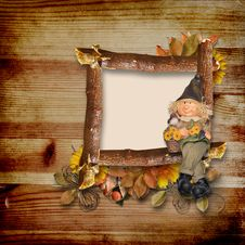 Free Wooden Frame On Autumn Background Royalty Free Stock Image - 16519356