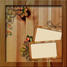 Free Wooden Frame With Autumn Leafs Royalty Free Stock Photography - 16519367