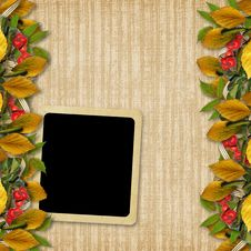 Free Card For The Holiday  With Autumn Leaves Royalty Free Stock Photos - 16519668