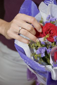 Woman Receiving Diamond Ring And Rose Royalty Free Stock Photography