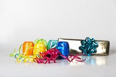 Free Set Of Colourful Ribbons And A Christmas  Gift Royalty Free Stock Image - 16520906