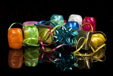 Free Set Of Colourful Ribbons And A Christmas  Gift Stock Photography - 16520922