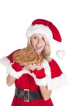 Santas Helper Big Cookie Bite Smile Royalty Free Stock Photography