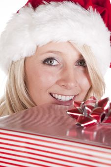 Free Santas Helper Peeking Over Present Royalty Free Stock Image - 16521696