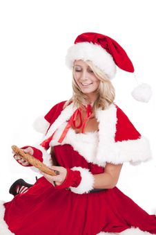 Santas Helper Big Cookie Look Down Stock Image