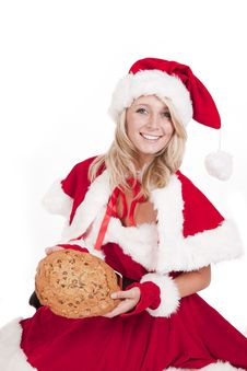 Santas Helper Big Cookie Sit Smile Stock Image