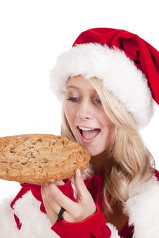 Santas Helper Cookie Bite Royalty Free Stock Photos