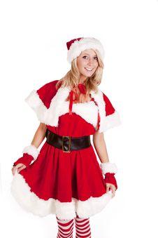 Santas Helper Standing Holding Skirt Royalty Free Stock Photo