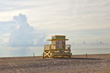 Wooden Art Deco Baywatch Huts At The L Beach Stock Photo