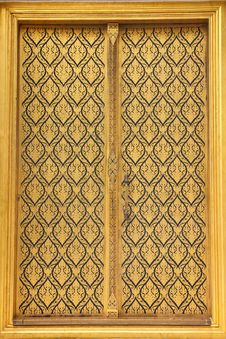Free Native Thai Style Of Pattern On Door Temple Royalty Free Stock Photo - 16523605