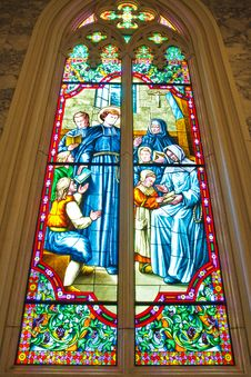 Free Stained Glass Inside Interior A Catholic Stock Photography - 16523822