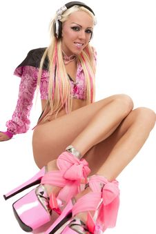 Blonde Dj In Pink Suit With A Headphone Stock Photography