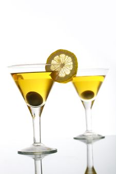 Two Glasses With Martini Royalty Free Stock Photo