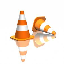 Free 3d Traffic Cones Royalty Free Stock Photo - 16524585