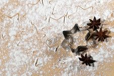 Star-shaped And Star Anise In The Flour V1 Stock Image