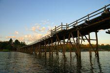 Mon Bridge The Sangkhlaburi In Thailand Stock Photo