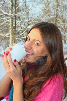 Free Woman Drinks Warm Tea In Winter Park Stock Photo - 16526180
