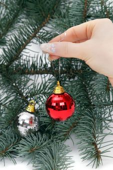 Hand Holding Christmas Balls Stock Photo