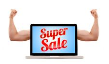 Free Laptop With Super Sale Sign And Muscular Biceps Royalty Free Stock Photos - 16529248