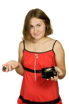 Free Astonished Woman With Broken Clock Royalty Free Stock Image - 16529256