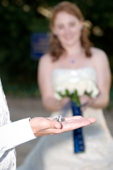 Free Wedding Rings On The Grooms Palm With The Bride Stock Photography - 16529922