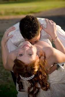 Free Couple With Groom Kissing Bride In The Cleavage Stock Image - 16529931