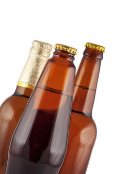 Free Beer In Bottles Close Up Isolated. Royalty Free Stock Photo - 16529975