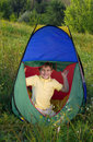 Free Happy Boy In Camping Tent Stock Photo - 16531960