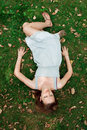 Free Girl Lying Down Of Grass Royalty Free Stock Image - 16533036