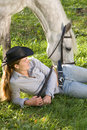 Free Young Woman With Her Horse Stock Photography - 16539702