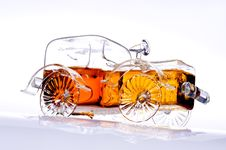 Car-shaped Brandy Bottle 2, Copy Space Royalty Free Stock Photos