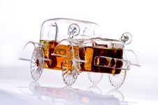 Car-shaped Brandy Bottle, Copy Space Stock Image