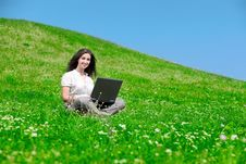 Free Beautiful  Woman With Notebook  On Hill Stock Image - 16530301