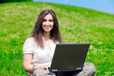 Free Beautiful  Woman With Notebook  On Hill Royalty Free Stock Photography - 16530307