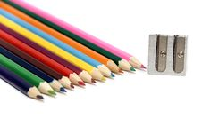 Free Crayons And Sharpener Royalty Free Stock Images - 16531079