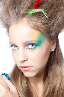 Free Beautiful Woman  With Color Makeup Stock Photography - 16532102