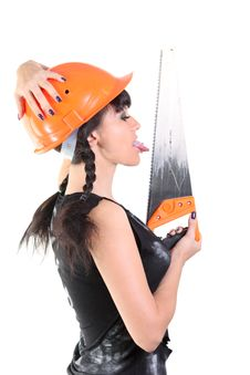 Free Girl In Hard Hat Licks A Saw Royalty Free Stock Photo - 16532245