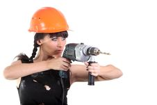 Free Girl Hold A Drill Royalty Free Stock Image - 16532246