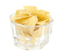 Free Tortilla Chips Isolated On White Royalty Free Stock Photo - 16533725