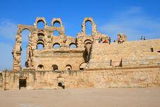 The Ruins Of Anthique Roman Coliseum In Tunisia
