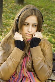 Free Girl With Headphones Fall Royalty Free Stock Photos - 16534818