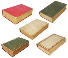Five Old Books Royalty Free Stock Images