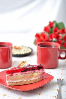 Free Fruit Dessert With Tea And Napkin Royalty Free Stock Photo - 16535925