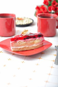 Free Fruit Dessert With Tea And Napkin Royalty Free Stock Photography - 16535927
