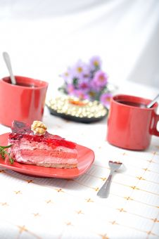 Free Fruit Dessert With Tea And Napkin Stock Photos - 16535933