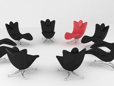 Free Special Red Office Armchair Between Ordinary Royalty Free Stock Photo - 16537315